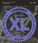 ECG24 Chromes Flat Wound Комплект струн для электрогитары, Jazz Light, 11-50, D'Addario